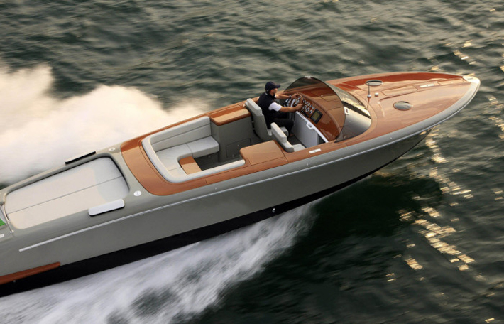 """The luxury Retro Riva speed boat, Aquariva by industrial designer Marc Newson."""