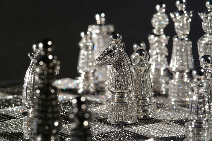 """Priced at 500,000 USD this is one of the most expensive chess sets in the world."" diamond Most Expensive Diamond Chess Set by Charles Hollander Collection 59   59"