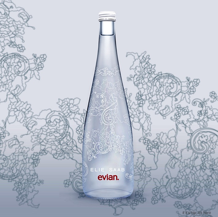 Limited Editions: Elie Saab designs a lacy bottle for Evian Limited Editions: Elie Saab designs a lacy bottle for Evian Limited Editions: Elie Saab designs a lacy bottle for Evian elie saab evian