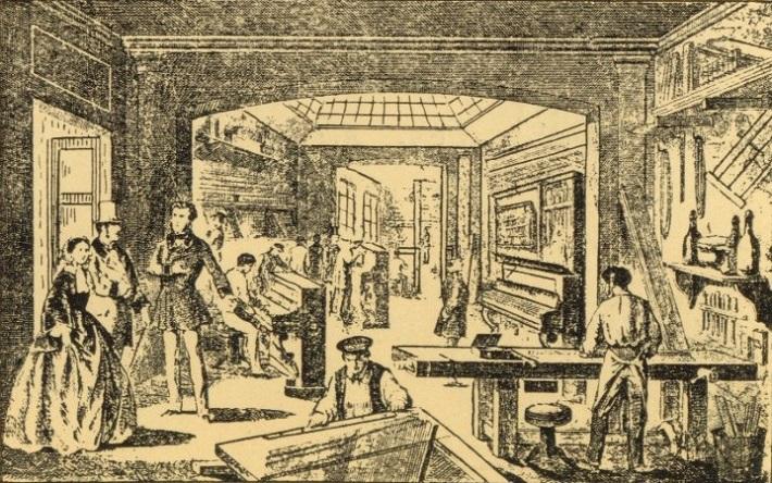 Gaveau-Atelier-rue-des-Vinaigriers-1847 Fine art: The Swan Piano by Gaveau Fine art: The Swan Piano by Gaveau Gaveau Atelier rue des Vinaigriers 1847