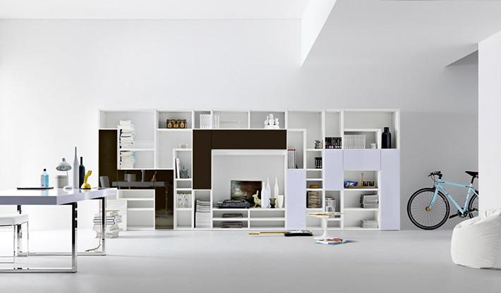 Top 10 Contemporary living room bookshelves Top 10 Contemporary living room bookshelves Top 10 Contemporary living room bookshelves futuristic white living room with white bookshelves design plus white interiors on white ceramic floor idea