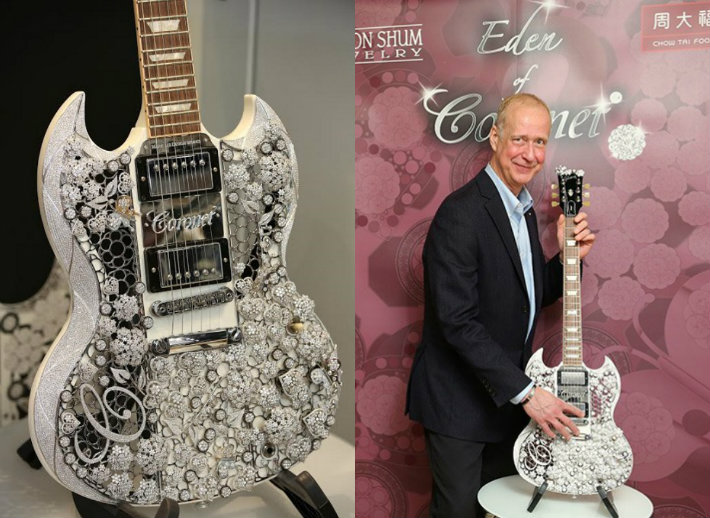 collage Gibson Brands, CORONET® and Mark Lui Create Diamond Gibson Guitar Gibson Brands, CORONET® and Mark Lui Create Diamond Gibson Guitar collage6