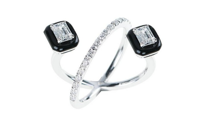 Diamond and black enamel engagement ring, part of the 'Oui' collectionby Nikos Koulis